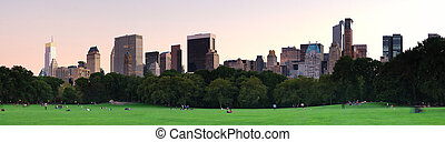 New York City Central Park at dusk panorama