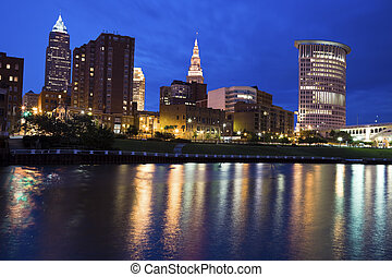 Blue evening by Cuyahoga River in Cleveland