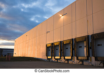 Empty Loading Dock at sunset - Empty Loading Dock -...