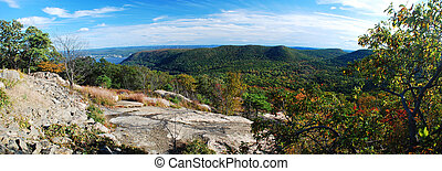 Autumn Mountain peak view panorama