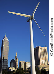 Wind turbine in Cleveland - Wind turbine in downtown...