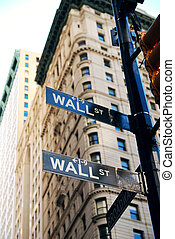 New York City Wall Street road sign in downtown Manhattan...