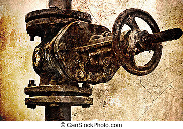Sewer valve. Special grunge effect - Closeup image of old...