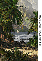 Kauai - A tropical scene of Kauai%u2019s coastline with...