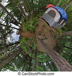 Forest Tent Camping - A super wide angle panoramic view of a...
