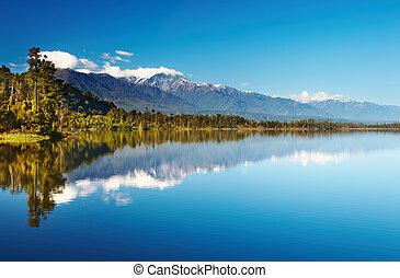 Beautiful lake, New Zealand, Southern Alps