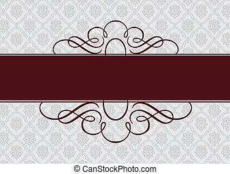 Vector Burgundy Ribbon Frame - Vector ornate frame Easy to...