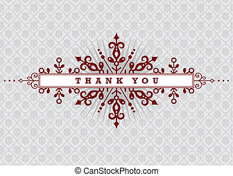 Vector Burgundy Thank You Background - Vector ornate...