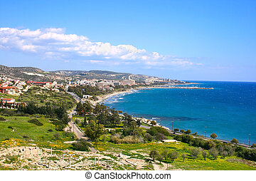 Cyprus landscape with mountains and Mediterranean sea.