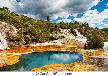 Hot spring, New Zealand - Hot spring in volcanic valley, New...