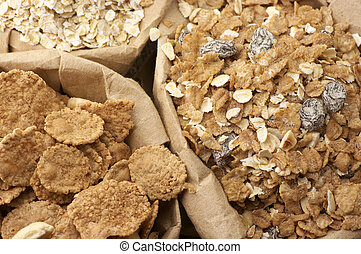 Cereals in bags - Close-up of various breakfast cereals in...