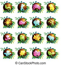Chocolate easter icons - 16 brightly colored spring and...