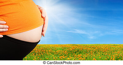 Pregnant woman and blossoming field background