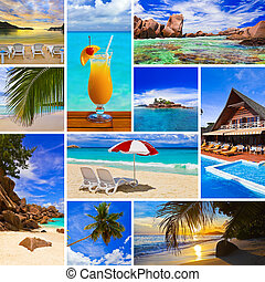 Collage of summer beach images - nature and travel...