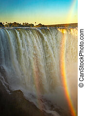 Victoria Falls at sunset, view from Zimbabwe