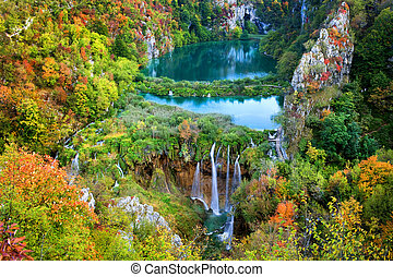 Plitvice Lakes - Scenic fall valley landscape in the...
