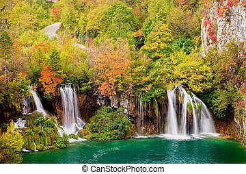 Waterfalls in Autumn Forest