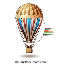 balloon - Colorful hot air balloon with silhouettes isolated...