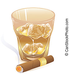 glass of whiskey and cigar - glass of whiskey and smoking...