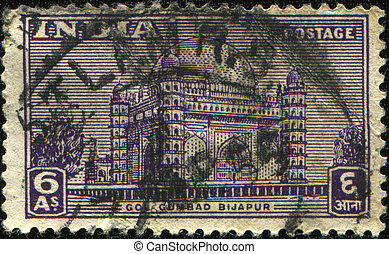Gol Gumbaz Bijapur - INDIA - CIRCA 1951: A stamp printed in...