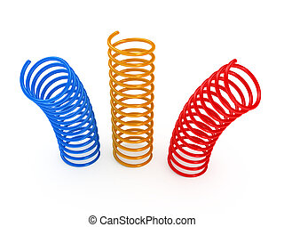 Color metal spring over white background. 3d rendered image