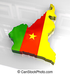 3d flag map of cameroon