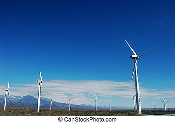Wind turbine generators in sinkiang,china,with blue skies...