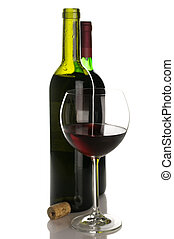 Bottles and glass of red wine - Two bottles and glass of red...