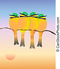 bee eaters - an illustration of a four little green bee...