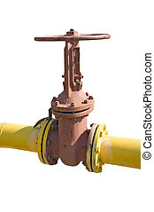 industrial valve on the oil pipe isolated on a white...