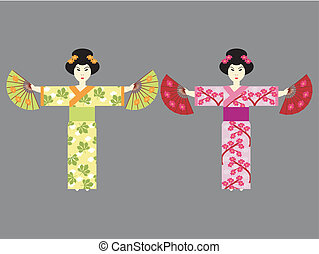 two japanese girl with fans