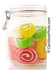 Colorful candy in jar