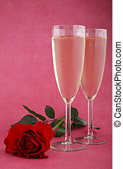 rose and champagne glassese
