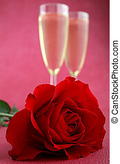 valentine day - champagne glasses and rose