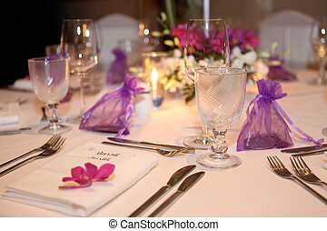 Wedding reception. - Tables decorated for a wedding...