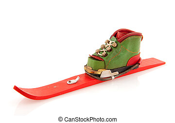 Winter sport - Skiing in winter with shoe on skie isolated...