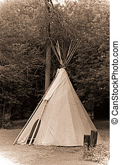 Antique Style Photograph of Indian Tipi - A traditional...