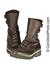 Army boots - Pair of worn Polish army boots used in...