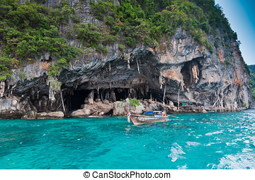 Viking Cave on PhiPhi Leh island, Thailand - Viking Cave on...