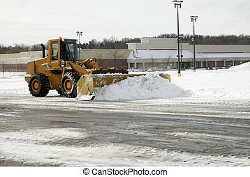 Large Yellow Snow Plow 1 - A large yellow earth mover...