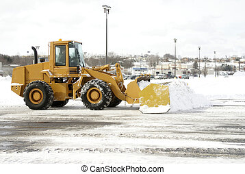 Large Yellow Snow Plow 2 - A large yellow earth mover...