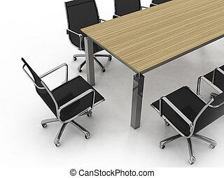 Set of office furniture on a white background