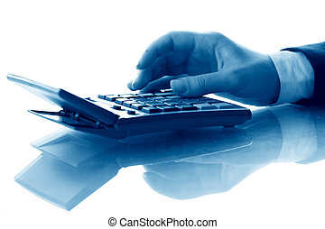 calculate - girl hand calculate on white background