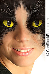 Catwoman with brightly yellow eyes