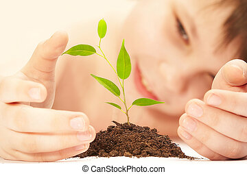 The boy observes cultivation of a young plant