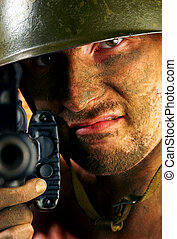 soldier - The soldier in a military helmet