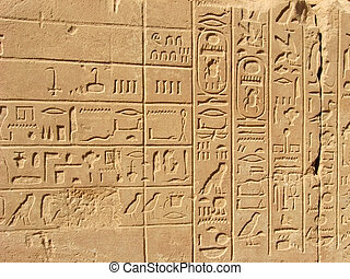Egyptian hieroglyphics from Karnak Temple Antique Thebes...