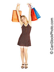girls with shoppingbags - comparison shopping Sale - girl...