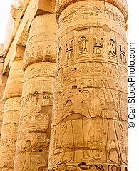 Egyptian hieroglyphics on the stone column