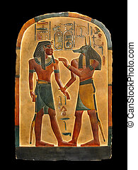 Pharaoh and Anubis in Netherworld - Pharaoh and god of the...